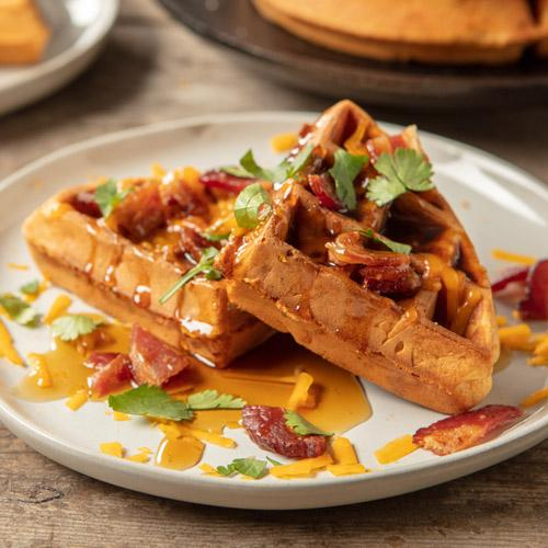 Savory Cheesy Bacon Waffles