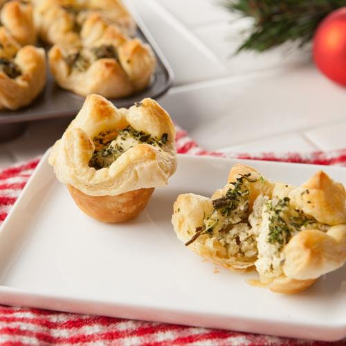 Mini Spinach Artichoke Puff Pastries with Cream Cheese