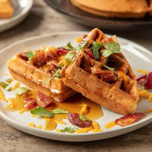 Savory Cheesy Bacon Waffles