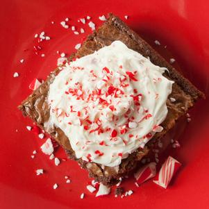 Brownies with White Chocolate Peppermint Frosting